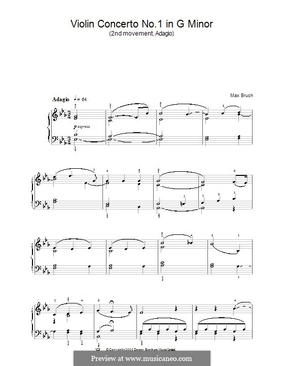 Violinkonzert Nr.1 in g-Moll, Op.26: Movement II. Version for easy piano by Max Bruch