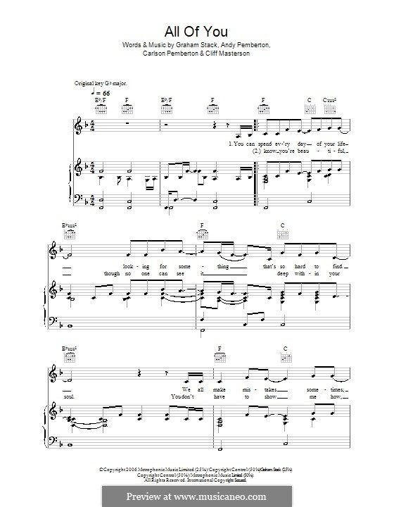 All of You (Journey South): Für Stimme und Klavier (oder Gitarre) by Andy Pemberton, Carlson Pemberton, Cliff Masterson, Graham Stack