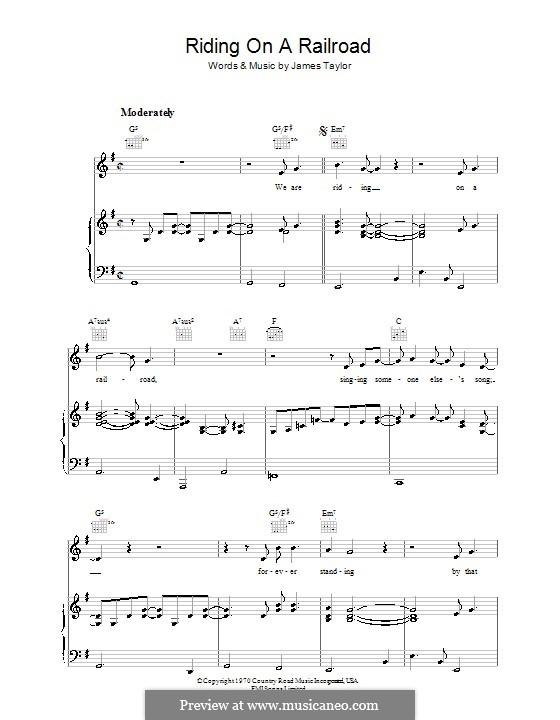 Riding on a Railroad: Für Stimme und Klavier (oder Gitarre) by James Taylor