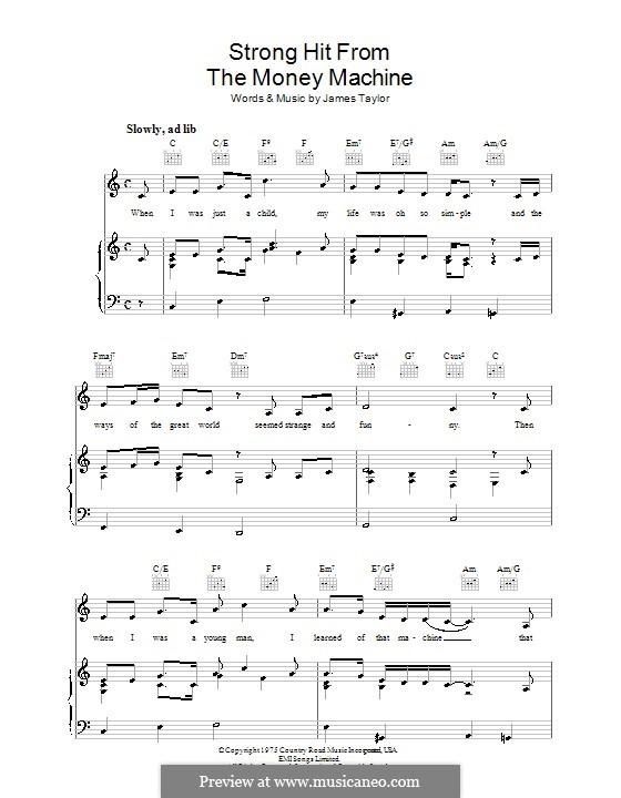 Strong Hit from The Money Machine: Für Stimme und Klavier (oder Gitarre) by James Taylor