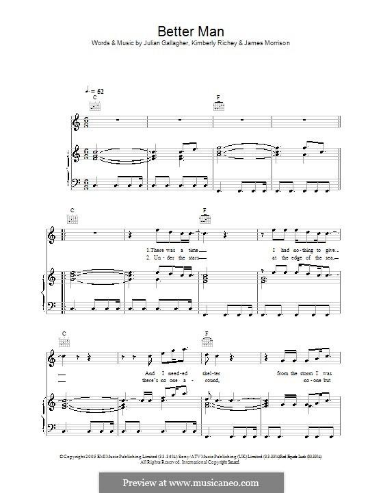 Better Man (James Morrison): Für Stimme und Klavier (oder Gitarre) by Julian Gallagher, Kim Richey