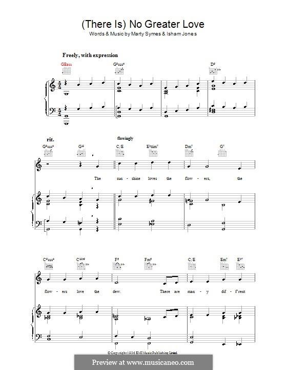 There Is No Greater Love: Für Stimme und Klavier (oder Gitarre) by Marty Symes