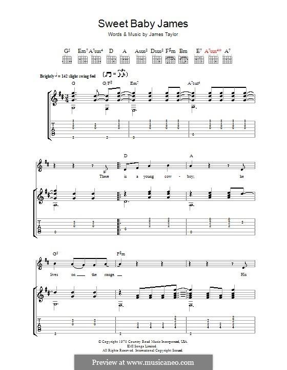 Sweet Baby James: Für Gitarre mit Tab by James Taylor