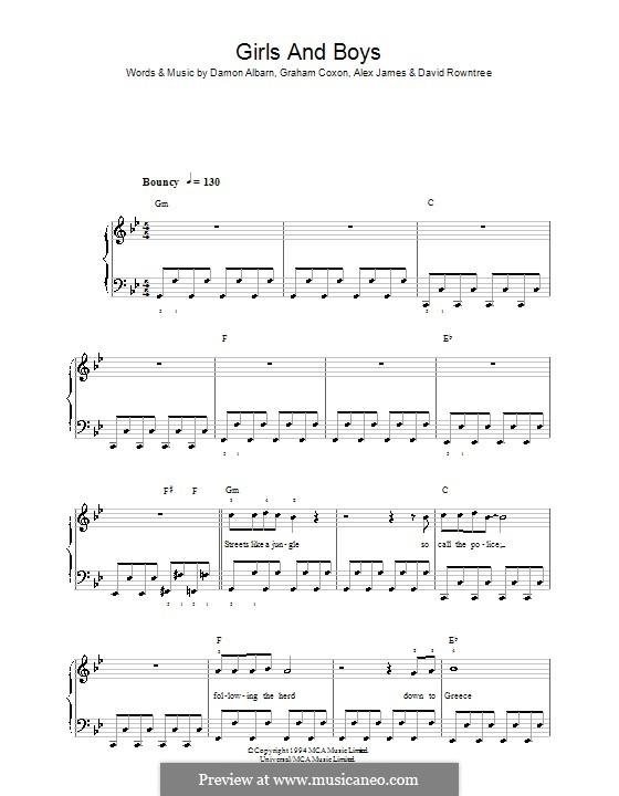 Girls and Boys (Blur): Einfache Noten für Klavier by Alex James, Damon Albarn, David Rowntree, Graham Coxon