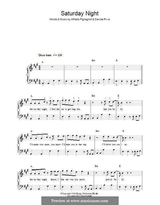 Saturday Night (Whigfield): Einfache Noten für Klavier by Alfredo Pignagnoli, Davide Riva