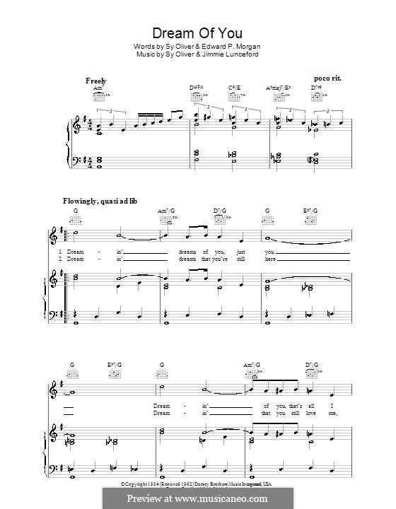 Dream of You: Für Stimme und Klavier (oder Gitarre) by Sy Oliver