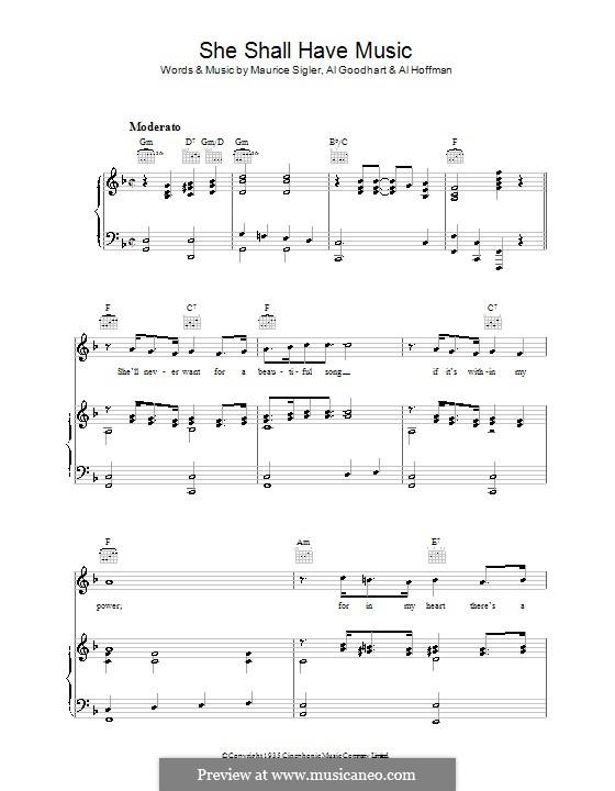 She Shall Have Music: Für Stimme und Klavier (oder Gitarre) by Al Goodhart, Al Hoffman