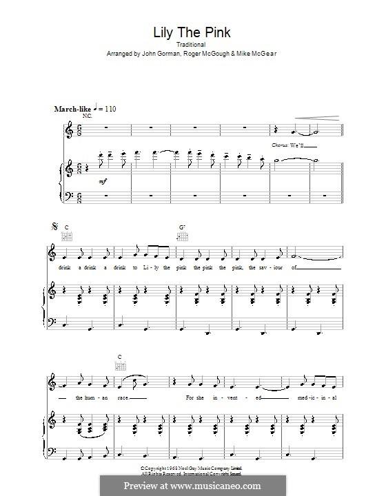 Lily the Pink: Für Stimme und Klavier (oder Gitarre) by folklore
