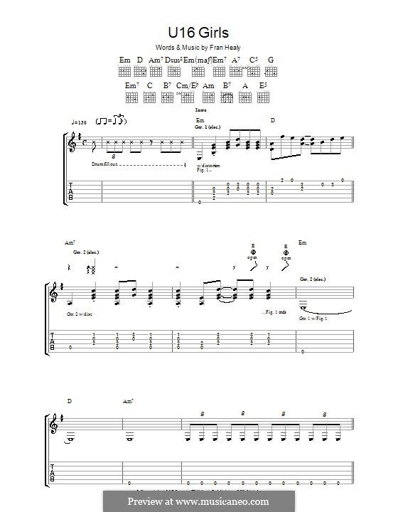 U16 Girls (Travis): Für Gitarre mit Tabulatur by Fran Healy