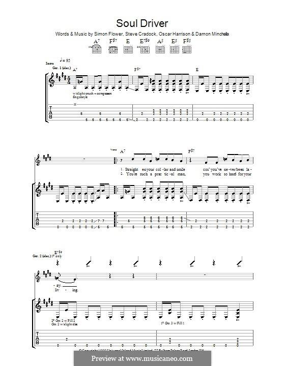 Soul Driver (Ocean Colour Scene): Für Gitarre mit Tabulatur by Damon Minchella, Oscar Harrison, Simon Fowler, Steve Cradock