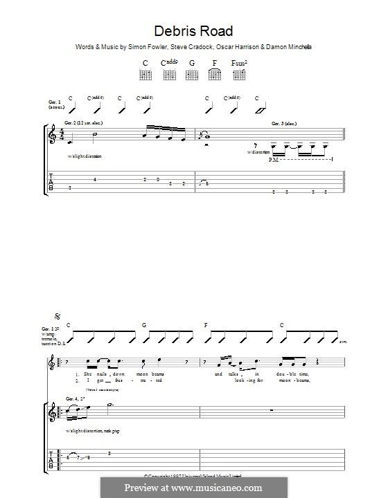 Debris Road (Ocean Colour Scene): Für Gitarre mit Tabulatur by Damon Minchella, Oscar Harrison, Simon Fowler, Steve Cradock