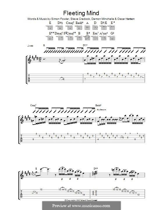 Fleeting Mind (Ocean Colour Scene): Für Gitarre mit Tabulatur by Damon Minchella, Oscar Harrison, Simon Fowler, Steve Cradock