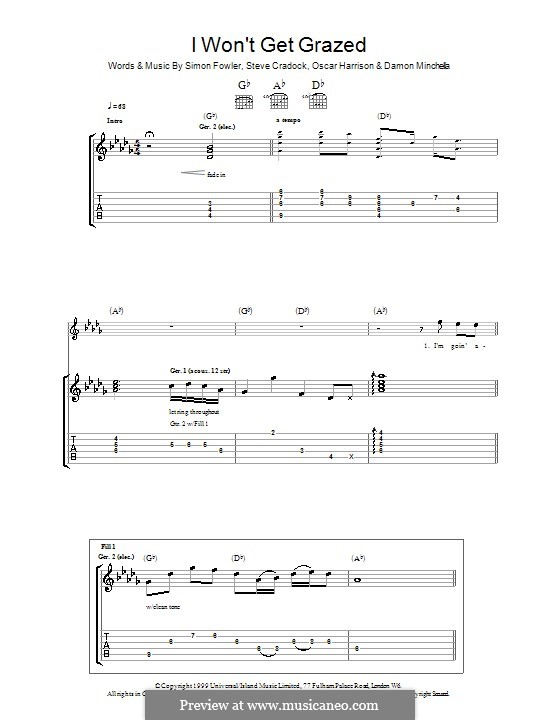 I Won't Get Grazed (Ocean Colour Scene): Für Gitarre mit Tabulatur by Damon Minchella, Oscar Harrison, Simon Fowler, Steve Cradock