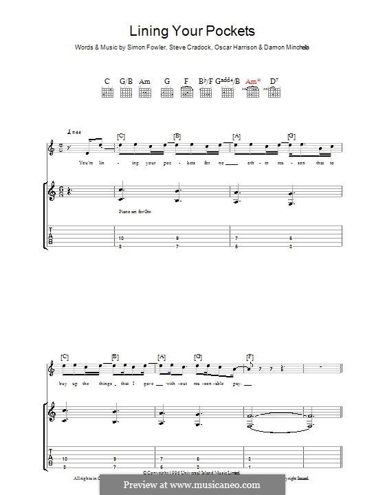 Lining Your Pockets (Ocean Colour Scene): Für Gitarre mit Tabulatur by Damon Minchella, Oscar Harrison, Simon Fowler, Steve Cradock