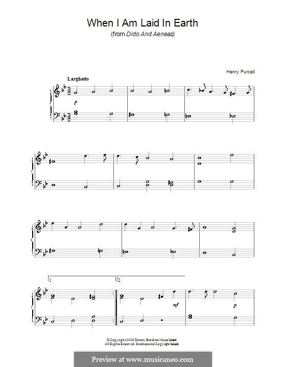 Dido's Lament: Version für leichtes Klavier by Henry Purcell