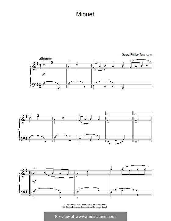 Menuett in G-dur für Flöte und Klavier: Bearbeitung für Klavier by Georg Philipp Telemann