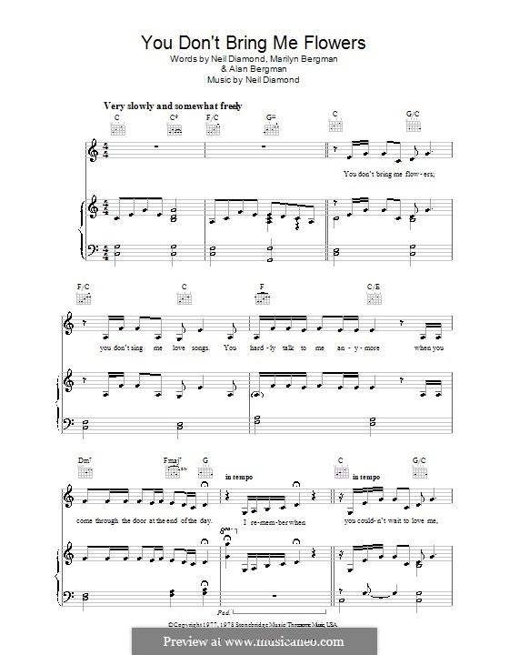 You Don't Bring Me Flowers: Für Stimme und Klavier (oder Gitarre) by Neil Diamond