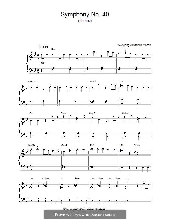 Teil I: Thema, für Klavier by Wolfgang Amadeus Mozart