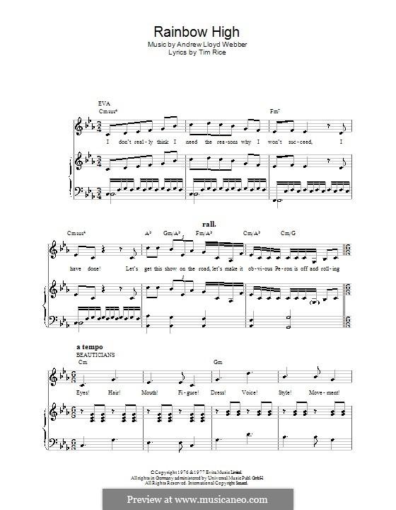 Rainbow High: Für Stimme und Klavier (oder Gitarre) by Andrew Lloyd Webber