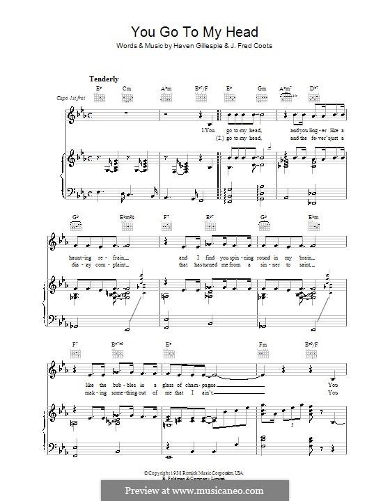 You Go To My Head (Frank Sinatra): Für Stimme und Klavier (oder Gitarre) by J. Fred Coots