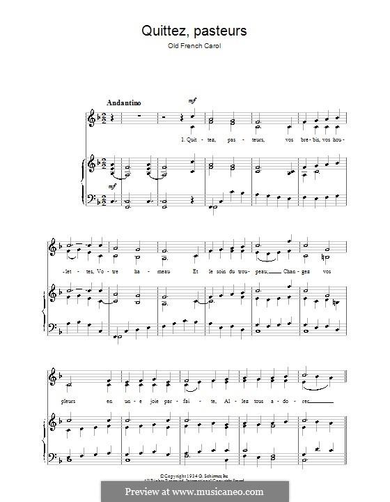 Quittez Pasteurs: Für Stimme und Klavier by folklore