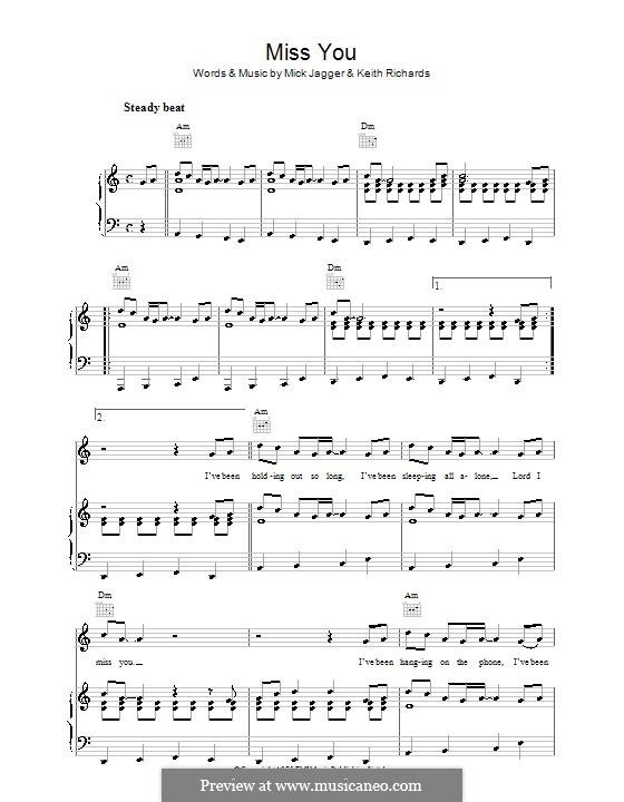 Miss You (The Rolling Stones): Für Stimme und Klavier (oder Gitarre) by Keith Richards, Mick Jagger