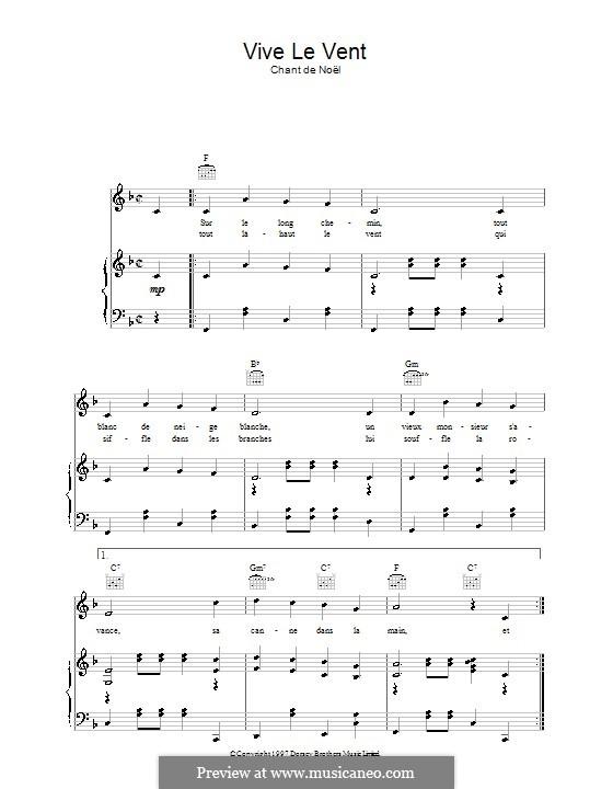 Vive le vent: Für Stimme und Klavier (oder Gitarre) by folklore