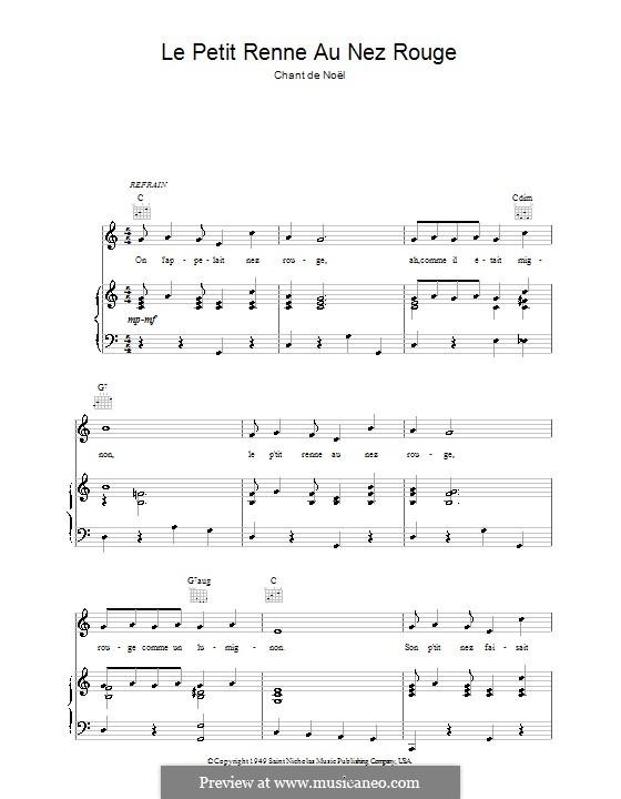 Le petit renne au nez rouge: Für Stimme und Klavier (oder Gitarre) by folklore