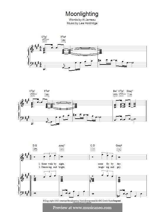Moonlighting (Al Jarreau): Für Stimme und Klavier (oder Gitarre) by Lee Elwood Holdridge