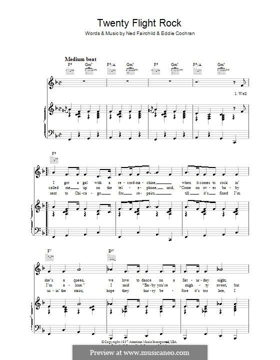 Twenty Flight Rock: Für Stimme und Klavier (oder Gitarre) by Eddie Cochran, Ned Fairchild