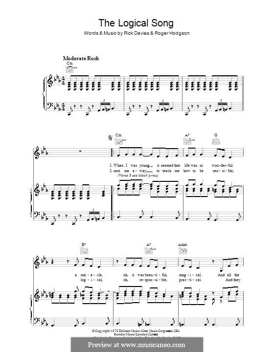 The Logical Song (Supertramp): Für Stimme und Klavier (oder Gitarre) by Rick Davies, Roger Hodgson