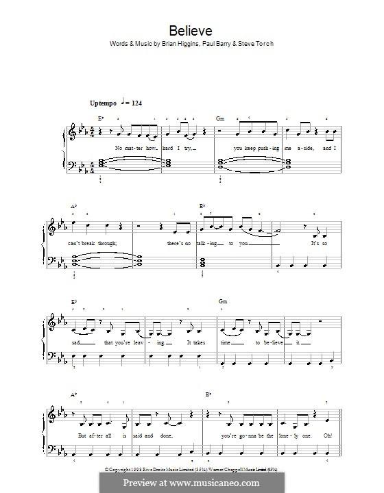 Believe (Cher): Für Klavier, leicht by Brian Higgins, Paul Barry, Stephen Torch