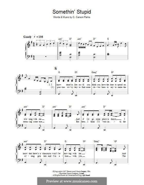 Somethin' Stupid (Frank Sinatra): Für Klavier, leicht by C. Carson Parks