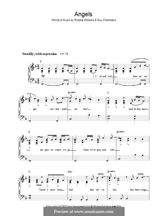 Angels: Für Klavier, leicht by Guy Chambers, Robbie Williams