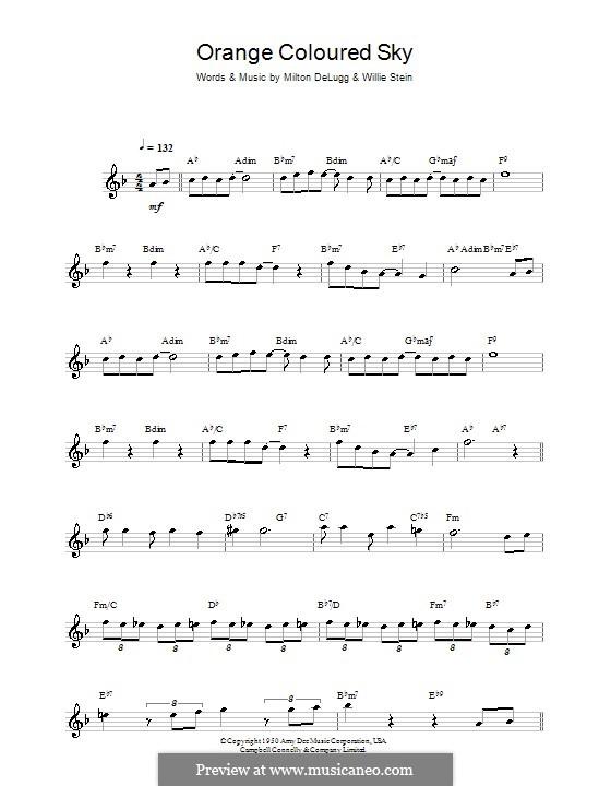 Orange Coloured Sky (Peggy Lee): Für Saxophon by Milton DeLugg, Willie Stein