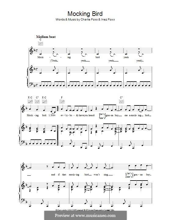 Mocking Bird (Aretha Franklin): Für Stimme und Klavier (oder Gitarre) by Charlie Foxx, Inez Foxx