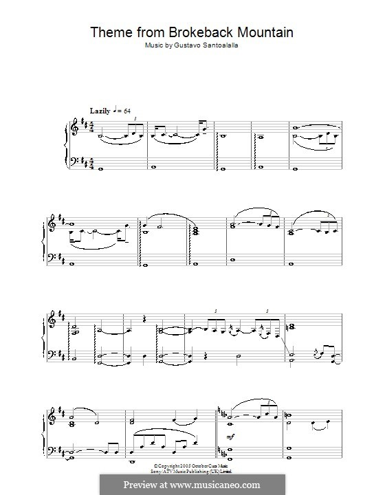 Theme from Brokeback Mountain: Für Klavier by Gustavo Santoalalla