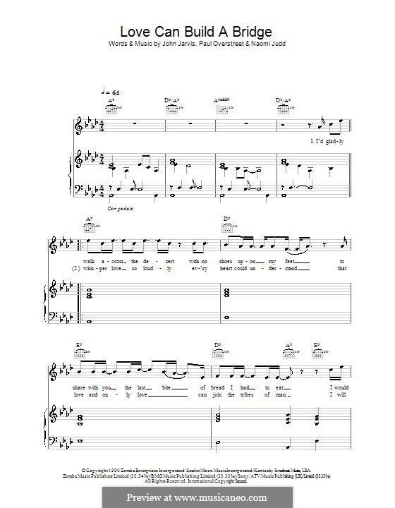 Love Can Build a Bridge: Für Stimme mit Klavier oder Gitarre (Westlife) by John Jarvis, Naomi Judd, Paul Overstreet