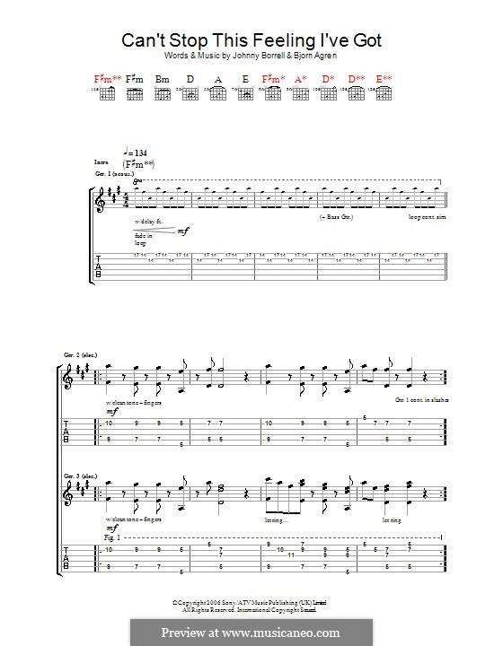 Can't Stop This Feeling I've Got (Razorlight): Für Gitarre mit Tab by Björn Ågren, Johnny Borrell