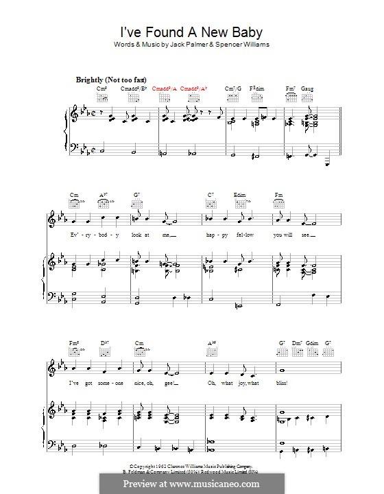 I've Found a New Baby (I Found a New Baby): Für Stimme und Klavier (oder Gitarre) by Jack Palmer, Spencer Williams