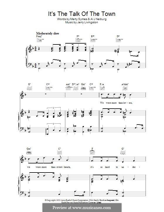 It's the Talk of the Town: Für Stimme und Klavier (oder Gitarre) by Al J. Neiburg, Marty Symes
