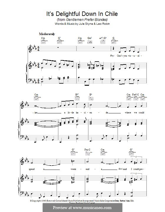 It's Delightful Down in Chile: Für Stimme und Klavier (oder Gitarre) by Jule Styne