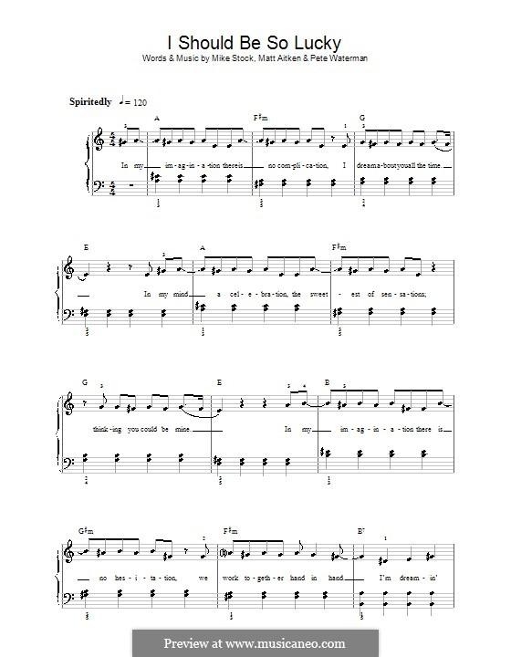 I Should Be So Lucky (Kylie Minogue): Einfache Noten für Klavier by Matt Aitken, Mike Stock, Pete Waterman