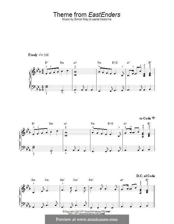 Theme from EastEnders: Für Klavier, leicht by Leslie Osborne, Simon May