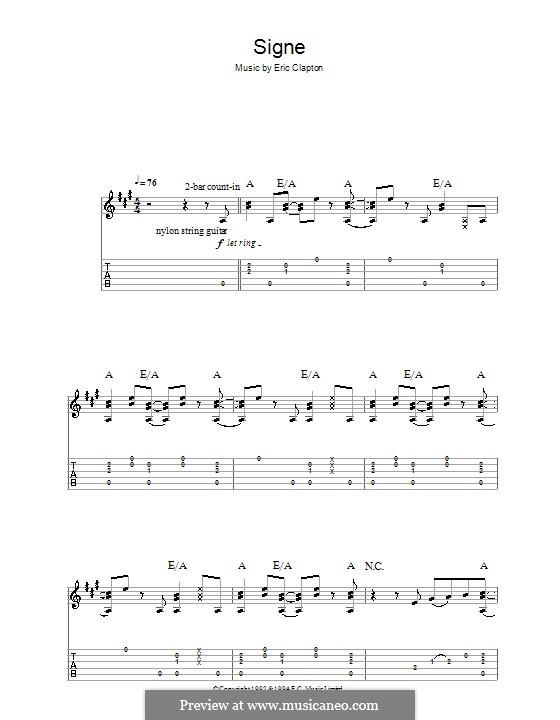 Signe: Für Gitarre mit Tabulatur by Eric Clapton