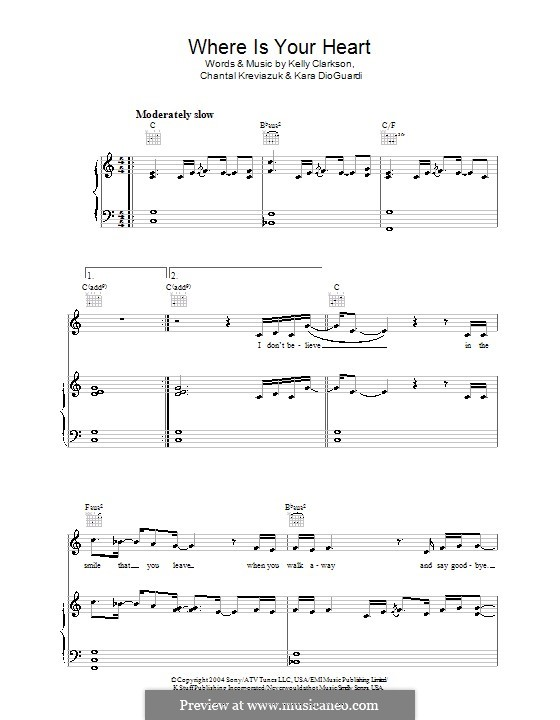 Where Is Your Heart (Kelly Clarkson): Für Stimme und Klavier (oder Gitarre) by Chantal Kreviazuk, Kara DioGuardi