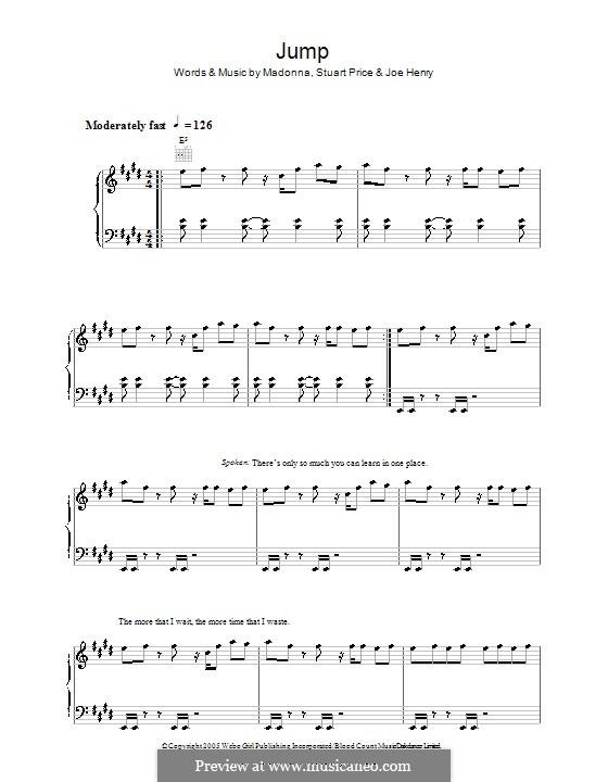 Jump (Madonna): Für Stimme und Klavier (oder Gitarre) by Joe Henry, Stuart Price