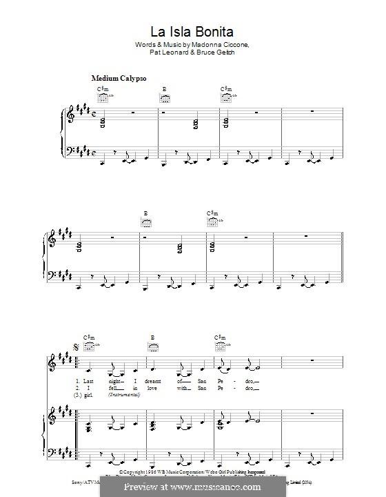 La Isla Bonita (Madonna): Für Stimme und Klavier (oder Gitarre) by Bruce Gaitsch, Patrick Leonard