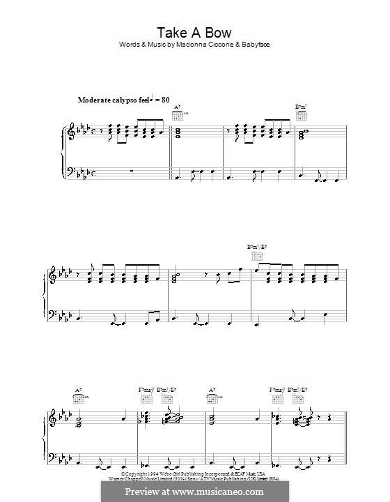 Take a Bow (Madonna): Für Stimme und Klavier (oder Gitarre) by Kenneth 'Babyface' Edmonds