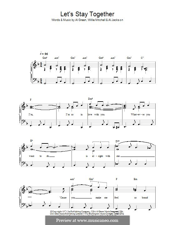 Let's Stay Together: Für Klavier, leicht by Willie Mitchell, Al Jackson Jr.